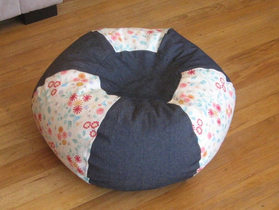 Denim and Floral Kids Bean Bag/Floor Cushion WITH LINER