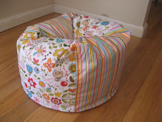 Bright and Cheerful, Hot Pink, Floral and Stripey Bean Bag COVER ONLY