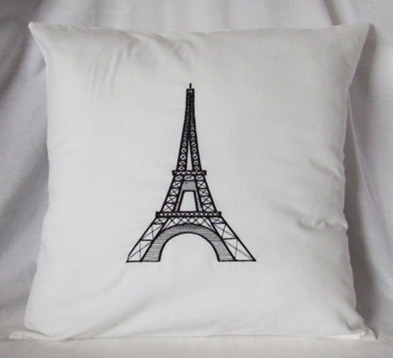 Paris Eiffel Tower Pillow 16 X 16: Eiffel Tower Pillow Cover Embroidered Black On By