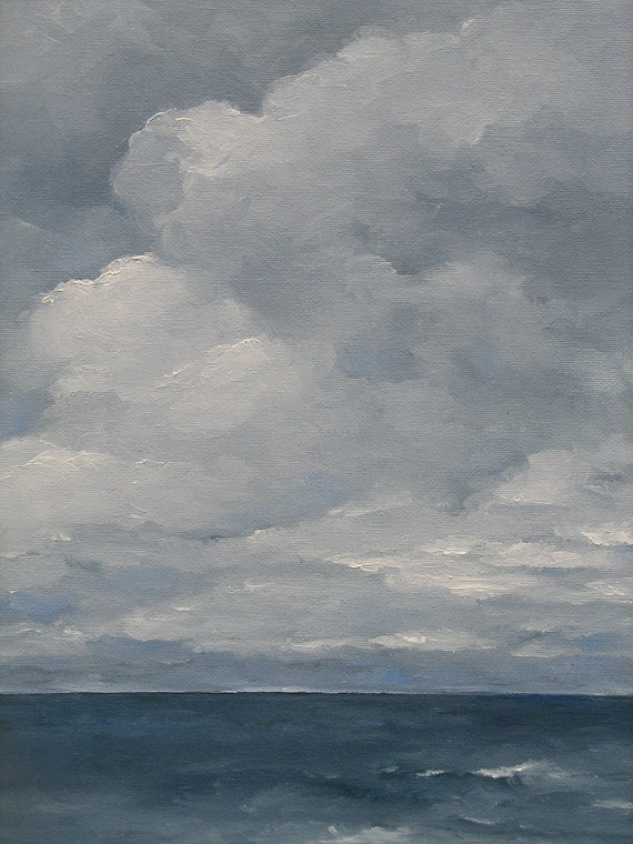 SALE Grey Sea - Original Oil Painting 11x14  Gray Blue Clouds Stormy Seascape -  Plein air framed included