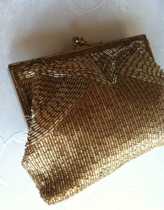 1960's Gold Beaded Formal/Evening Clutch/Purse