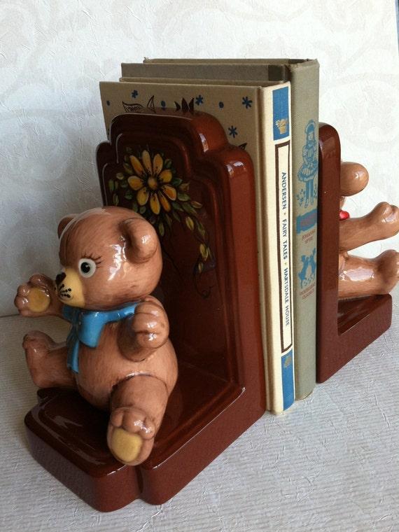 OOAK Vintage Teddy Bear Bookends for Baby Nursery or Kid's Room 1970's
