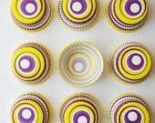 Free Ship, purple and yellow swirl cupcake liners, purple swirl baking cups, yellow cupcake cups, nut cups, swirly spiral cupcake liner