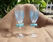 Hand Painted.... Wedding.... Anniversary....Toasting Flutes....Blue....Silver...Glamor