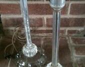 Set of 2 glass candlestick lights