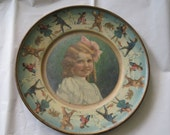 Antique Tin Litho Plate Union Pacific Tea Co 1907 Girl Bears Children Good Condition Advertising