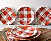 Vintage Orange Plaid / Check Japanese Plates / Set of 8