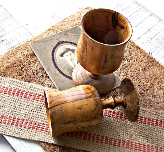 Vintage Olive Wood Stem Goblets Set of 2