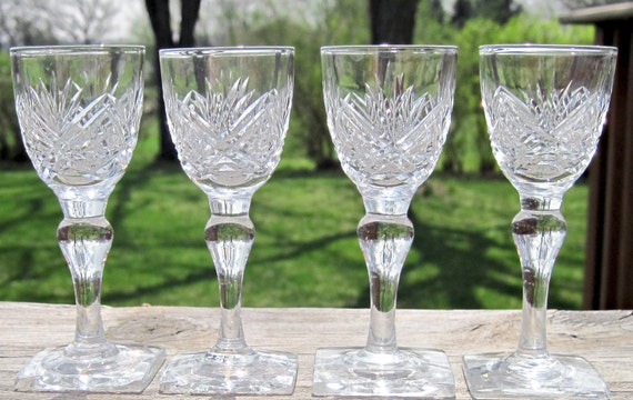 Thomas Webb SIGNED 24% Lead Crystal Stemmed Cordial Glasses Set(s) of 4, England