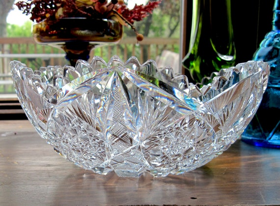 """American Brilliant Period 9"""" Bowl or Dish, Hand Cut Lead Crystal, Clear Glass, 1930's Estate Find"""