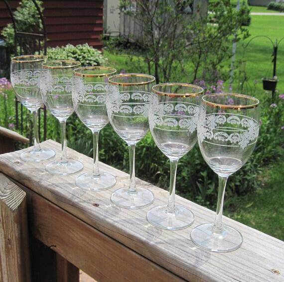VIntage Crystal Wine Glasses, 24 Ct. Gold Rims, Etched Design Complements Cambridge Rose Point, Stemmed Glasses, Italy