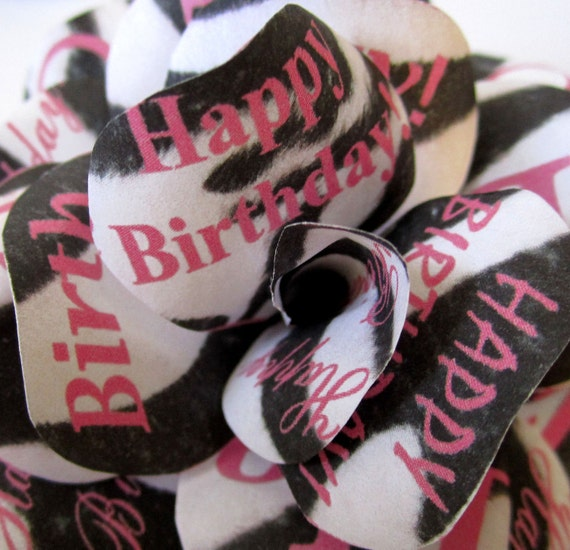 """Zebra Birthday Decoration Personalized Zebra Print Paper Roses with Hot Pink Lettering.   2.5"""" diameter Set of 12"""