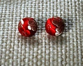 Red Silk Japanese Inspired Covered Button Earrings