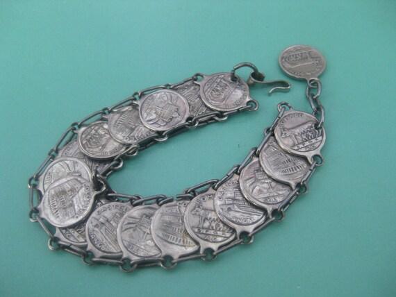 Vintage Italian SPQR/ROMA DCCIII Souvenir Coin Bracelet