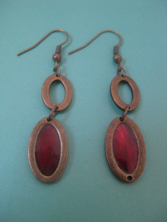 Vintage oval red stained-glass window copper earrings