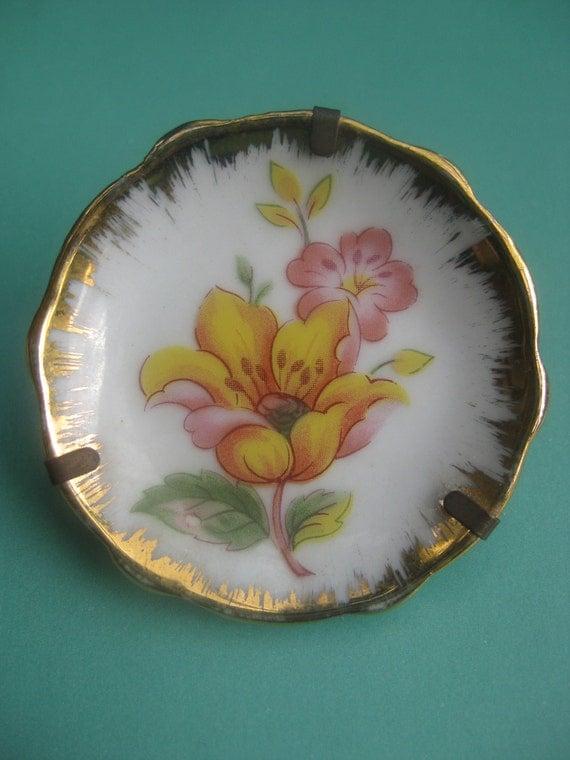 Vintage miniature Limoges France flowers and gold Porcelain plate