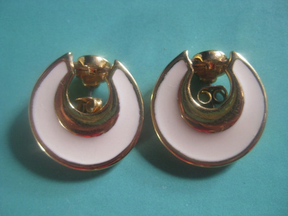 Vintage 1955 NAPIER Earrings, white enamel earrings, white and gold earrings, bridal earrings, Napier earrings,