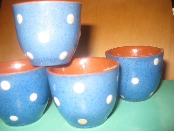 Reserved MARISA Vintage polkadot glass, Torquay potteries, 50s, blue glasses white polka dot glasses, shot glass set, hand painted glasses