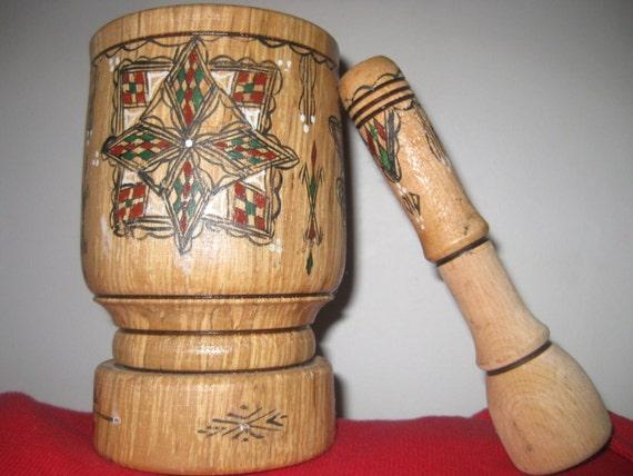 Vintage Berber traditional tribal Art Mortar and Pestle