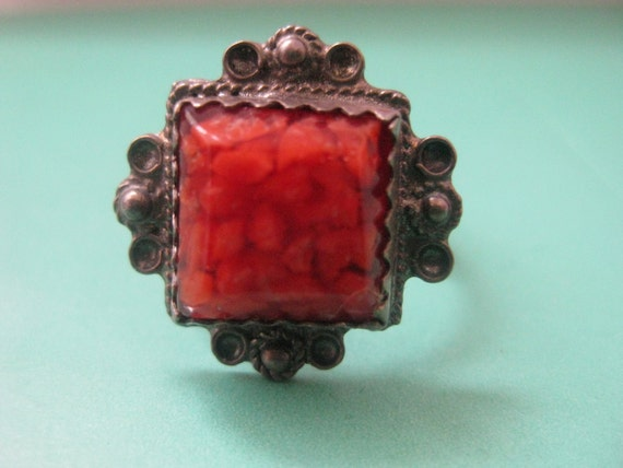 RESERVED for Nee Vintage Berber Silver Handmade  tribe red coral square ring