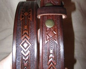 1 1/4 Inch Leather Belt, Western Design, Handmade Belt