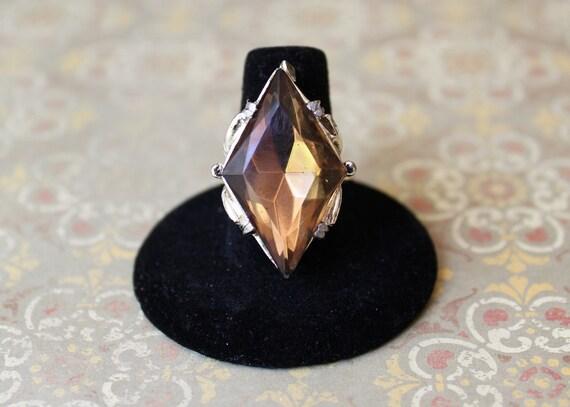 Vintage Diamond-shaped Topaz Cocktail Ring - Adjustable