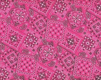Pink bandana  Cowgirls favorite  cotton fabric  BTY