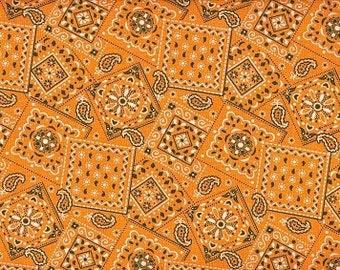 Bandana Outrageous Orange 100% Cotton Fabric By The Fat Quarter