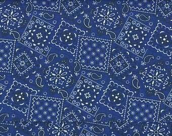 Navy Blue Bandana fabric   100 percent cotton   BTY