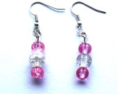 Pink glass earrings beaded dangle clear beads