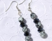 Black swarovski earrings with crystals and marbled, glass beads