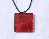 Scarlet letter necklace - glass tile necklace pendant, red square pendant