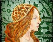 100%Silk Original batik handpainted  painting Juliet.