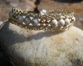 Single Wrap White Leather Howlite Bracelet with Gold Chain