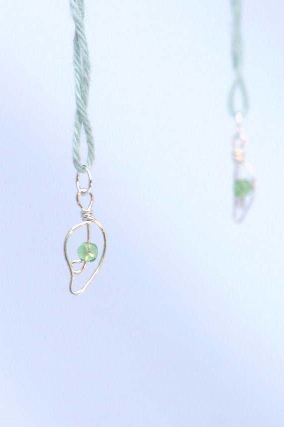 Handmade Sterling Silver Beaded Knitting Stitch Markers --- Dainty Leaves Float Across Your Needles as if on a Gentle Spring Breeze