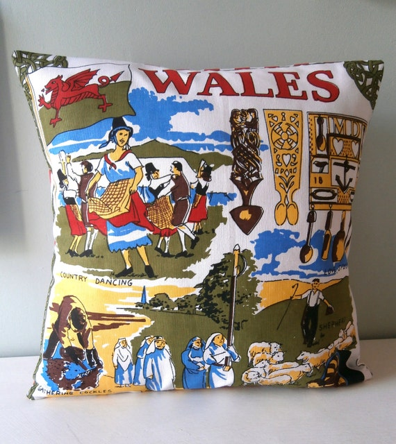 OOAK Wales Cushion / Pillow cover Upcycled Teatowel