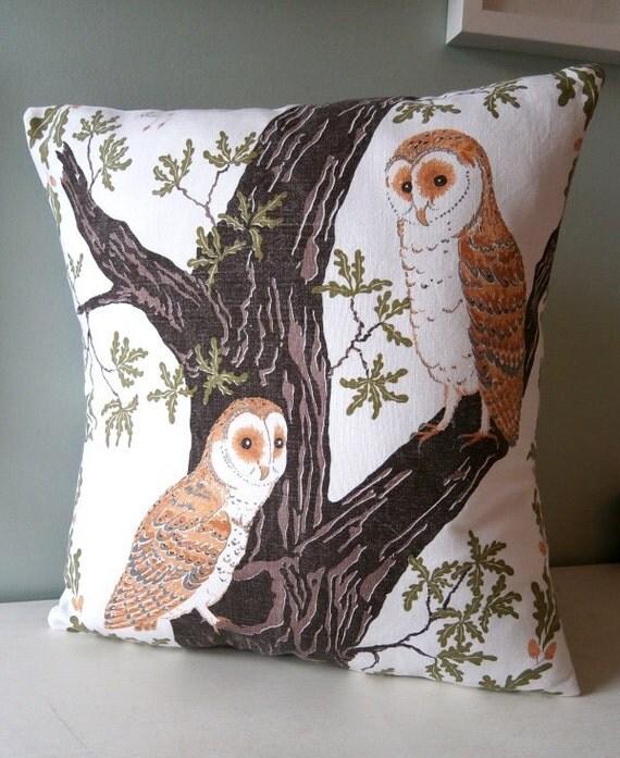 OOAK Barn Owl Cushion / Pillow cover Upcycled Teatowel