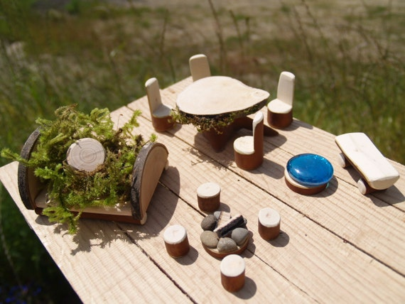 CUSTOM ORDER For Kelly,  Fairy Garden Furniture Set Fairy Bed, Dining Room, Bench with Gazing Pool, and Fire Pit with 4 stools