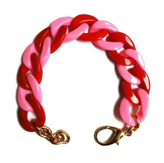 LALA: Pink and Red Colour-Blocked Chain Link Bracelet