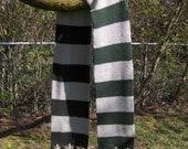 Hand Knit Hogwart's scarf SLYTHERIN HOUSE Ravenclaw Hufflepuff Gryffindor available