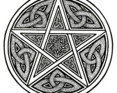 Celtic Knotwork Protective Pentacle Art Print