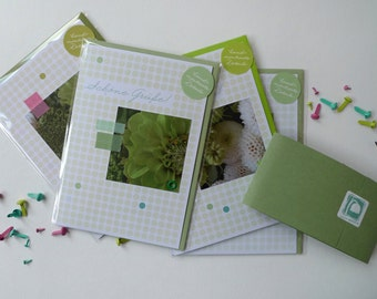 Flowerdots green / / set 002 / / 4 cards with hand-assembled details