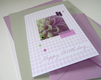 Flowerdots Orchid / / happy birthday / / 1 card with hand-assembled details