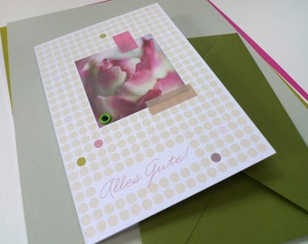 Flowerdots olive / / all the best / / 1 card with hand-assembled details