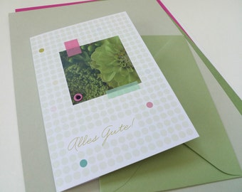 Flowerdots green / / all the best / / 1 card with hand-assembled details