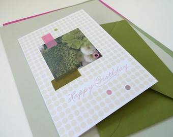 Flowerdots olive / / happy birthday / / 1 card with hand-assembled details