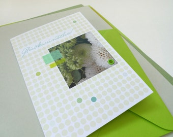 Flowerdots Green may / / congratulations / / 1 card with hand-assembled details
