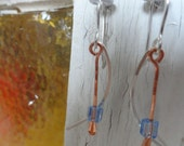 Hammered Copper and Sterling Silver Wire Earrings with Blue Glass Beads