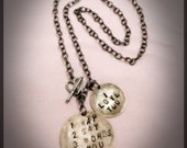 1 Way 2 Say 3 Words 4 You, I Love You - Hand Stamped Necklace