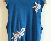 retro vintage 1960s 1970s blue knitted tank vest top with angora floral detail